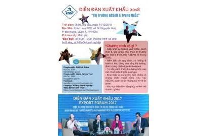 """Sự kiện sắp diễn ra: Diễn đàn Xuất khẩu 2018 - """"Thị trường ASEAN và Trung Quốc""""."""