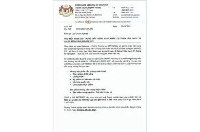 Mời Doanh nghiệp tham dự Triễn lãm quốc tế Halal Malaysia (Online)